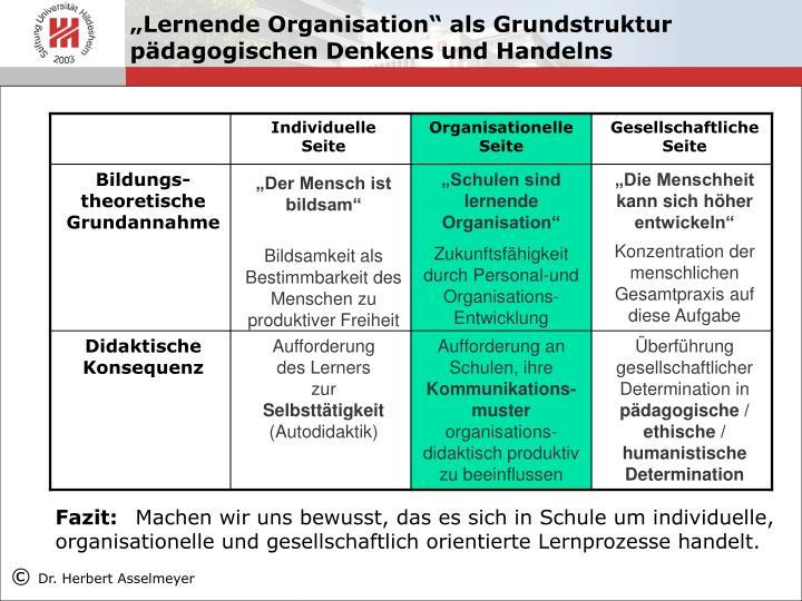 """""""Lernende Organisation"""" als Grundstruktur pädagogischen Denkens und Handelns"""