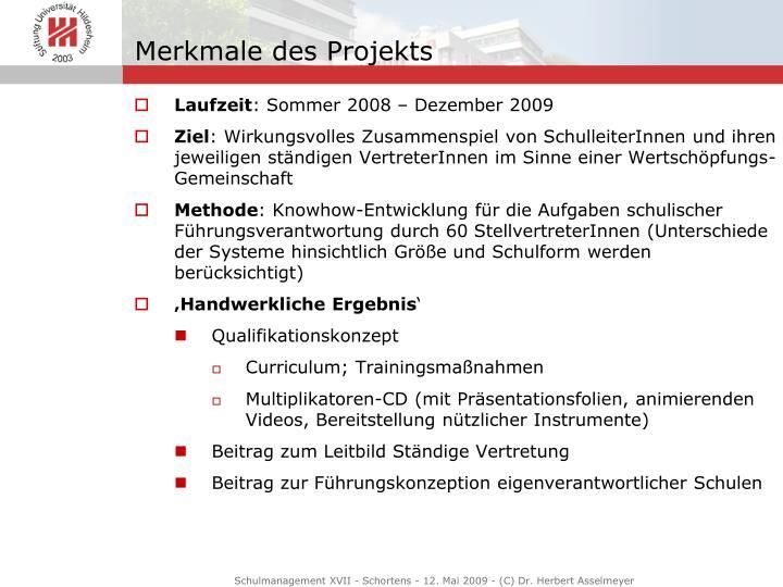 Merkmale des Projekts
