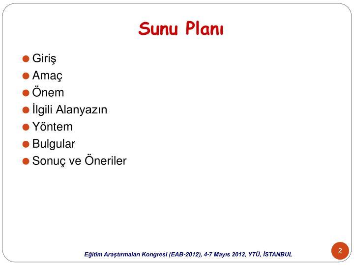 Sunu Planı