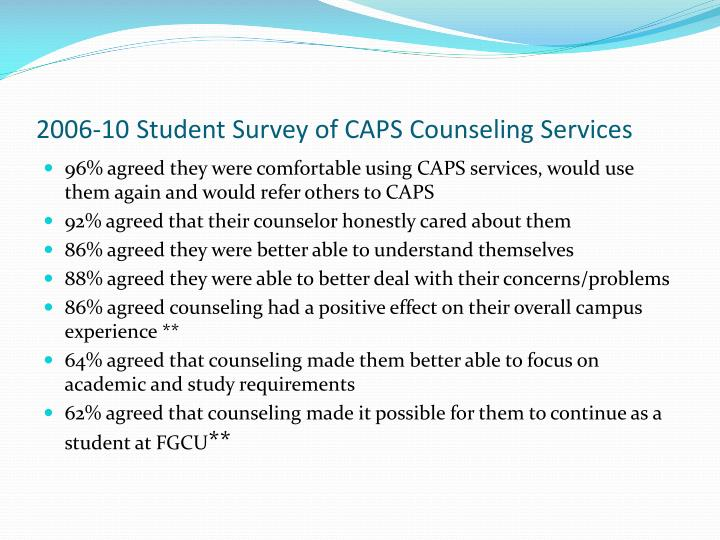 2006-10 Student Survey of CAPS Counseling Services