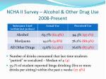 ncha ii survey alcohol other drug use 2008 present