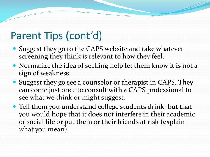 Parent Tips (cont'd)
