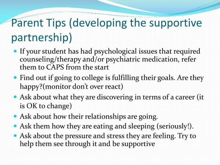 Parent Tips (developing the supportive partnership)