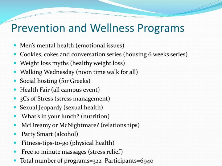 Prevention and Wellness Programs