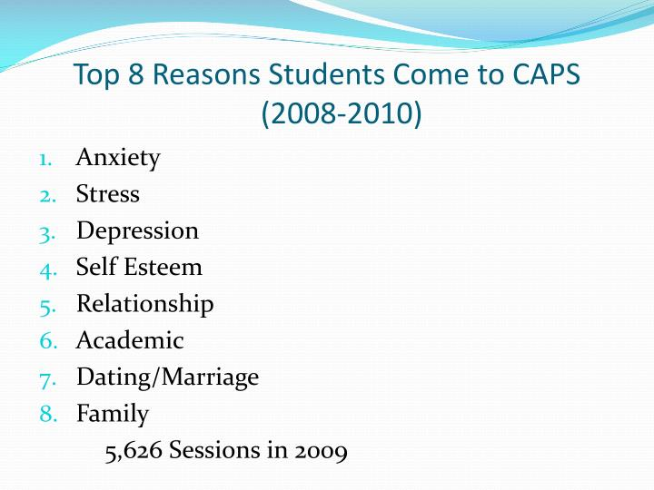 Top 8 Reasons Students Come to CAPS