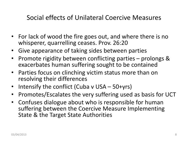 Social effects of Unilateral Coercive Measures