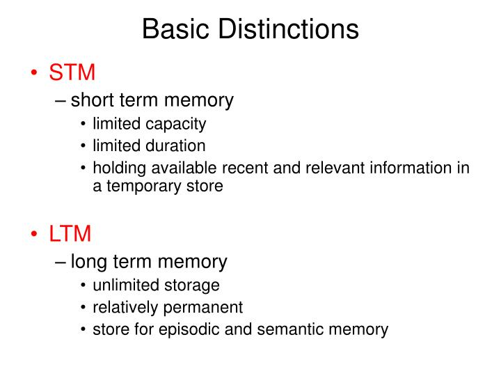 Basic distinctions