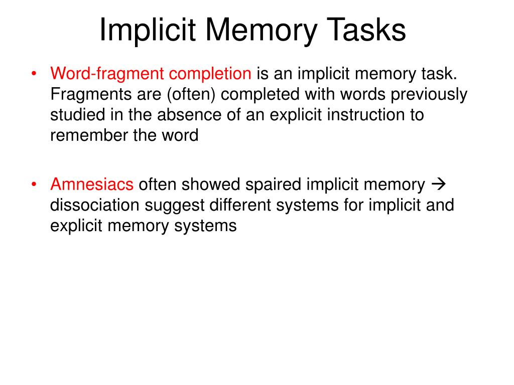 Implicit Memory Tasks