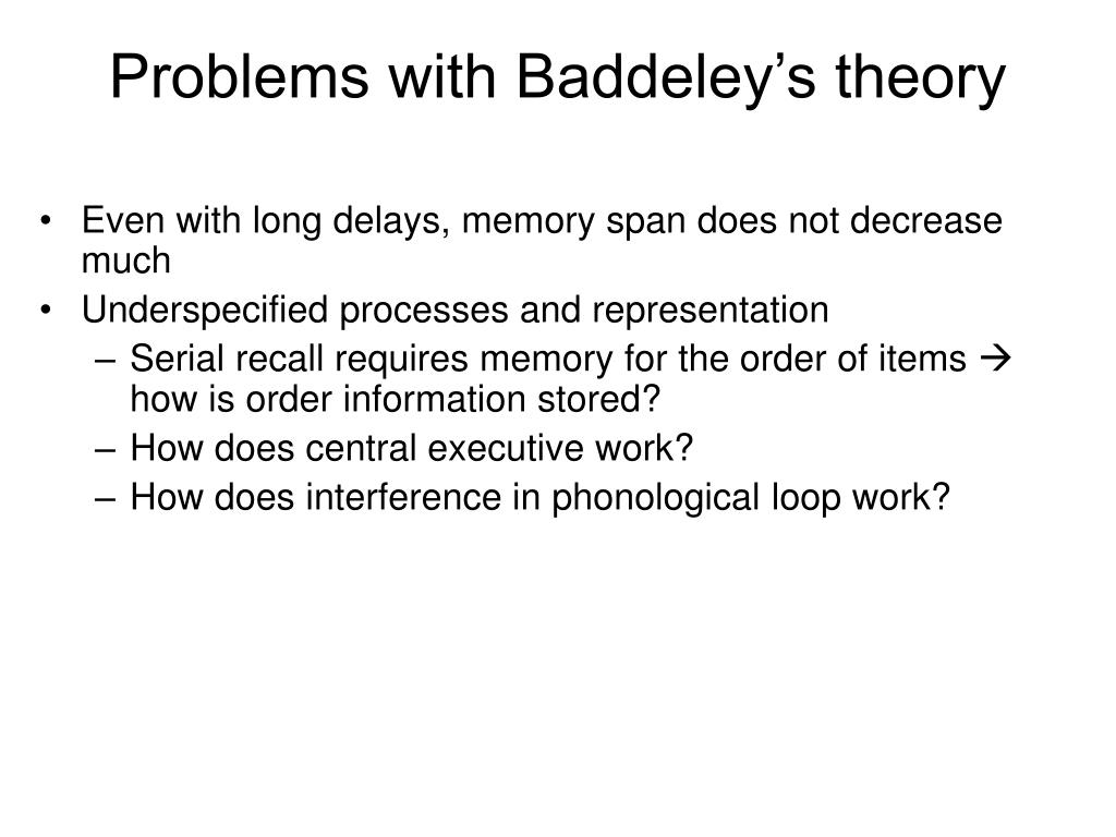 Problems with Baddeley's theory