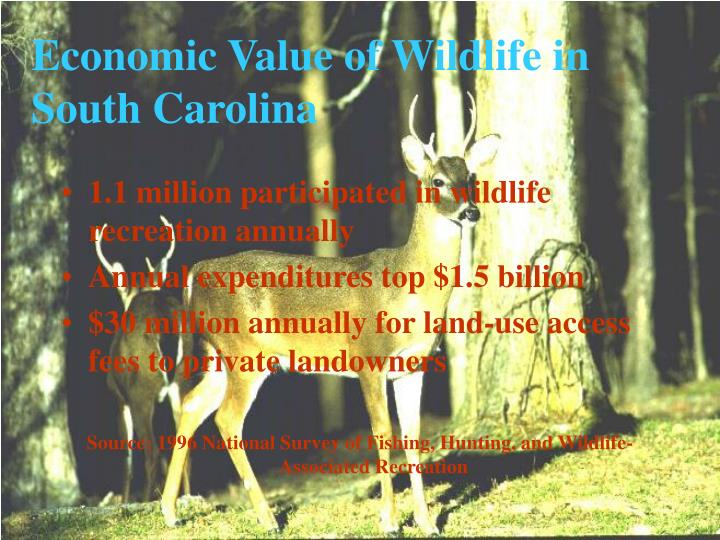 1.1 million participated in wildlife recreation annually