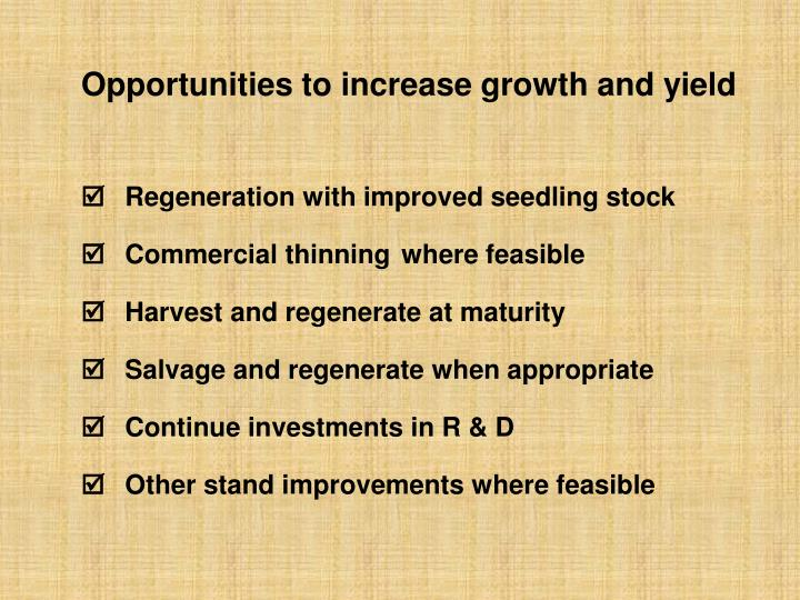 Opportunities to increase growth and yield