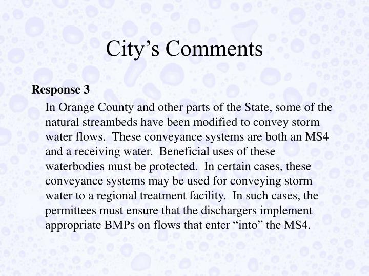 City's Comments