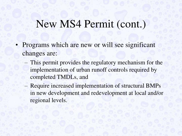 New MS4 Permit (cont.)