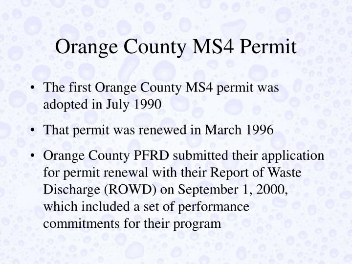 Orange County MS4 Permit