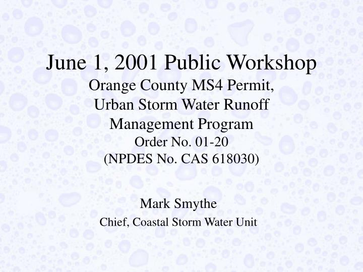 June 1, 2001 Public Workshop