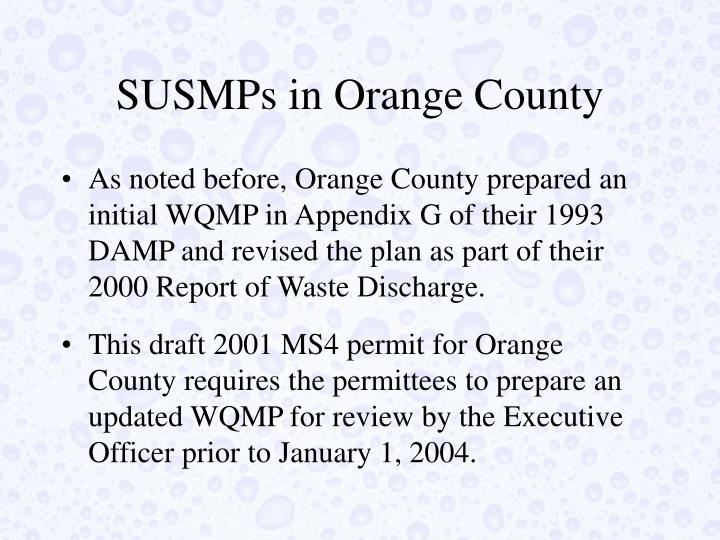 SUSMPs in Orange County