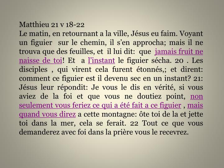 Matthieu 21 v 18-22