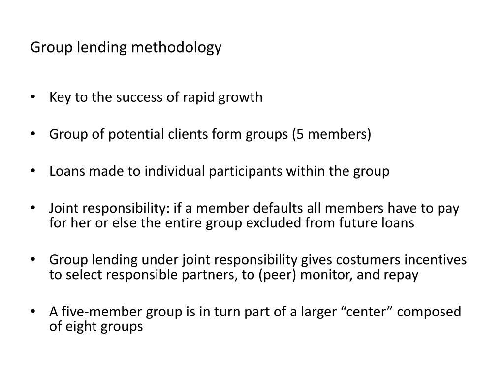 Group lending methodology