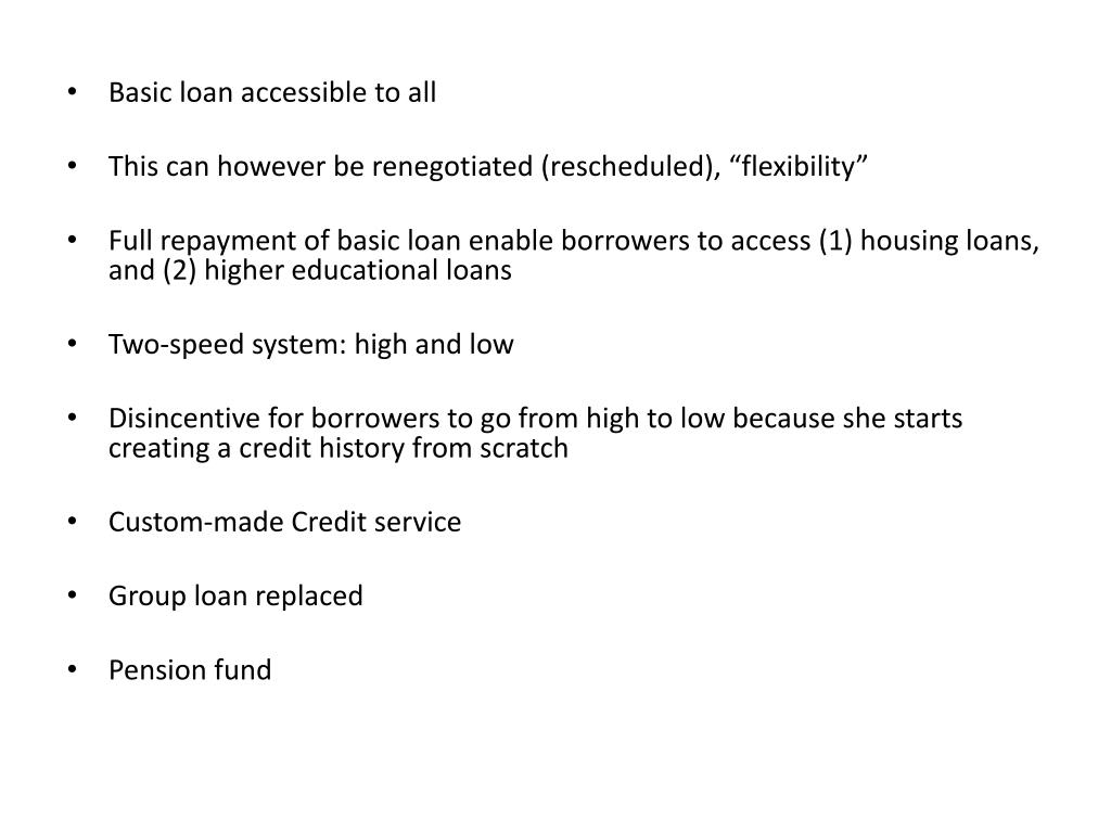 Basic loan accessible to all