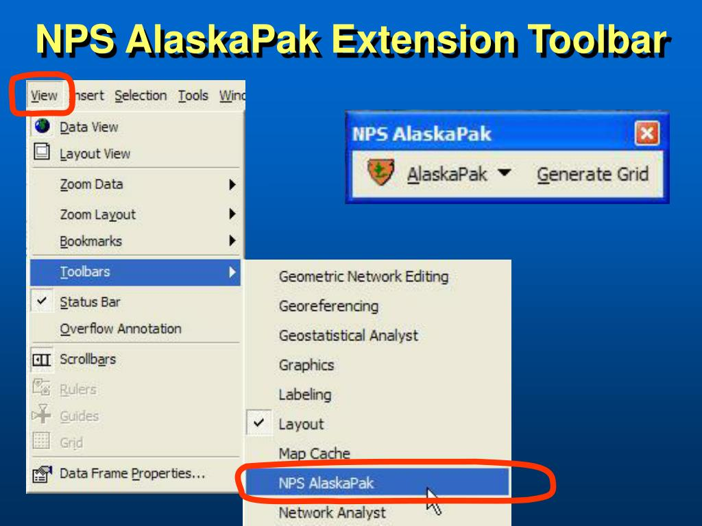 NPS AlaskaPak Extension Toolbar