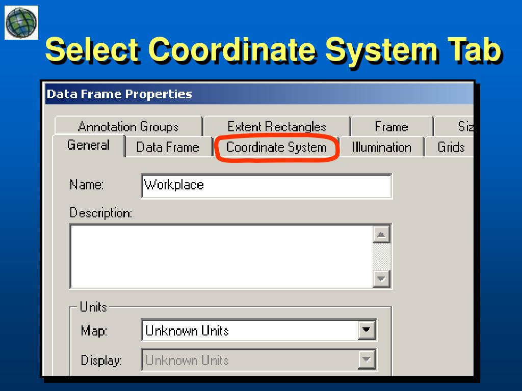 Select Coordinate System Tab