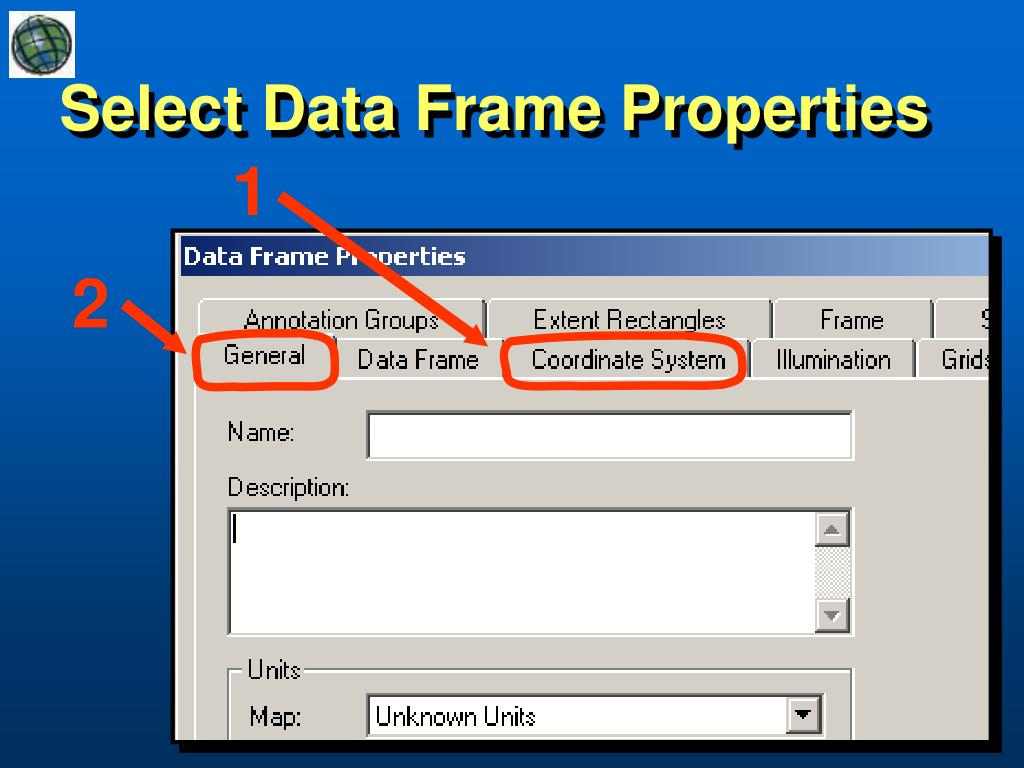 Select Data Frame Properties