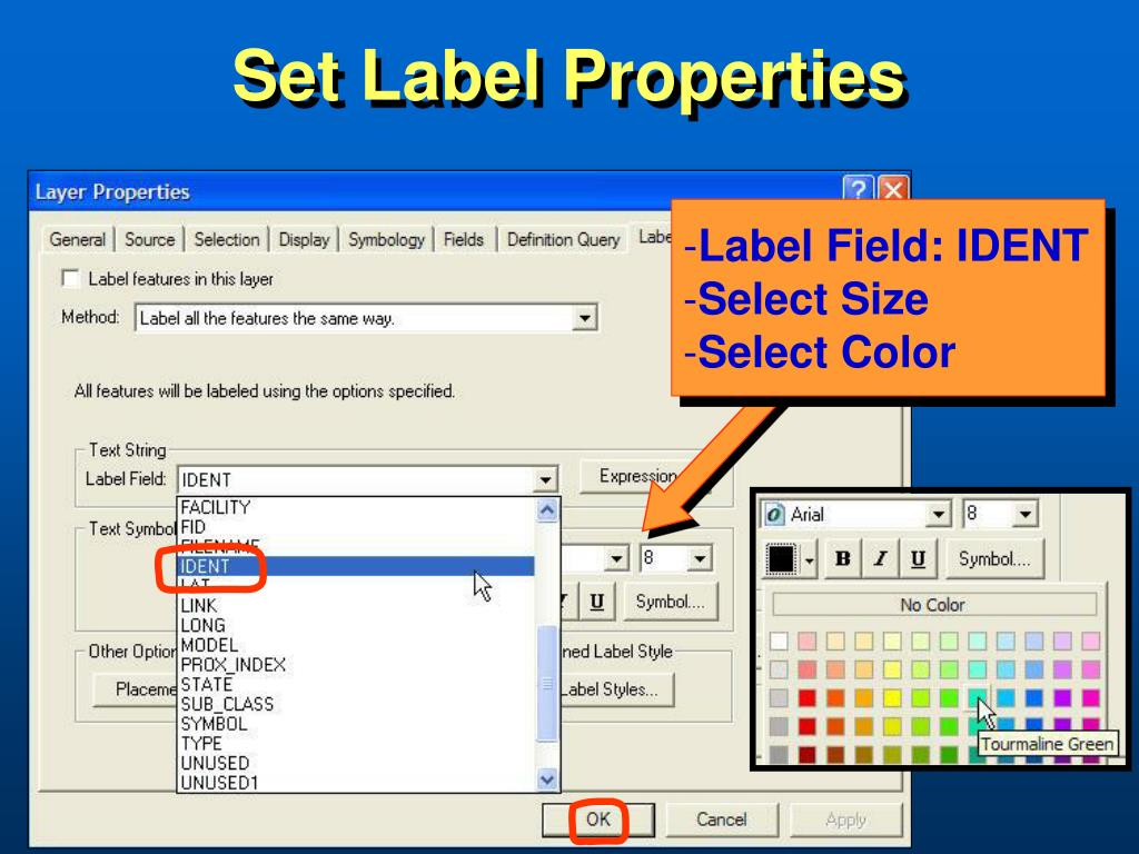 Set Label Properties
