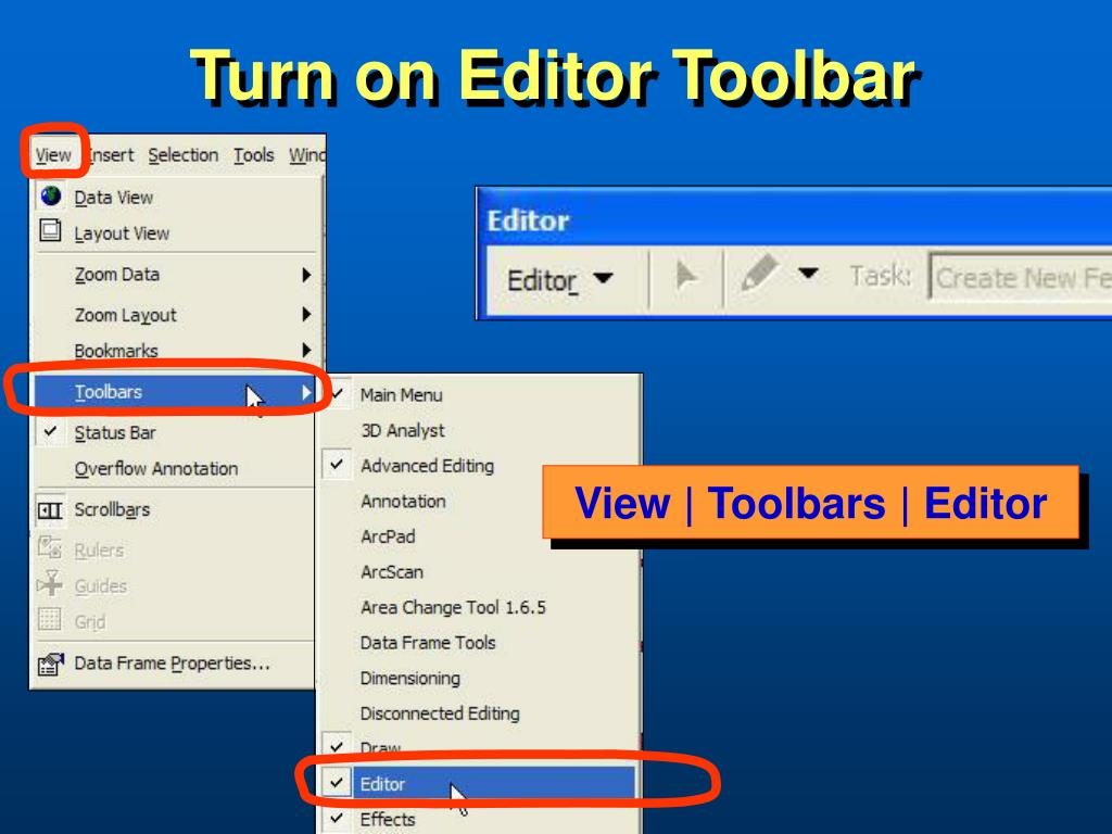 Turn on Editor Toolbar