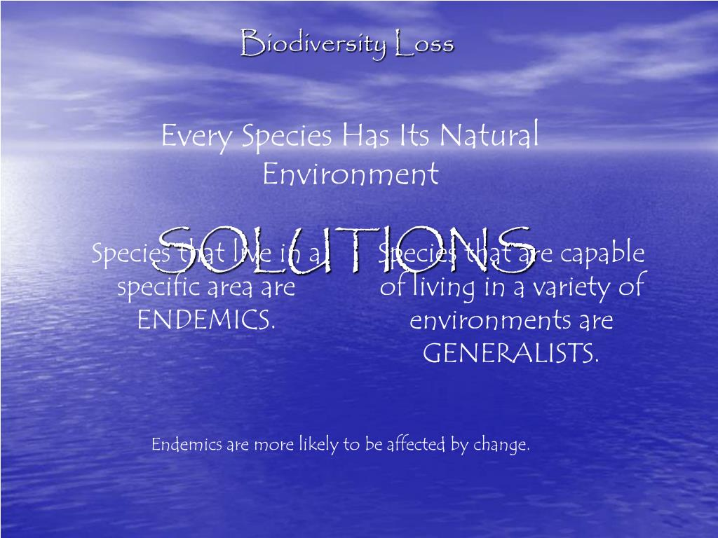 Every Species Has Its Natural Environment