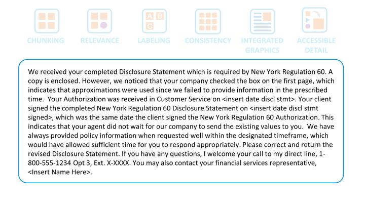 We received your completed Disclosure Statement which is required by New York Regulation 60. A copy is enclosed. However, we noticed that your company checked the box on the first page, which indicates that approximations were used since we failed to provide information in the prescribed time.  Your Authorization was received in Customer Service on <insert date
