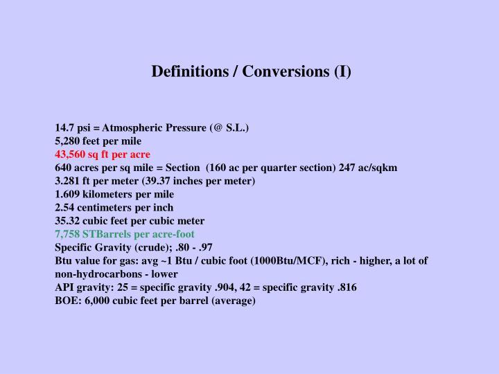 Definitions / Conversions (I)