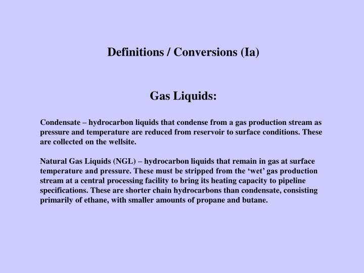 Definitions / Conversions (Ia)