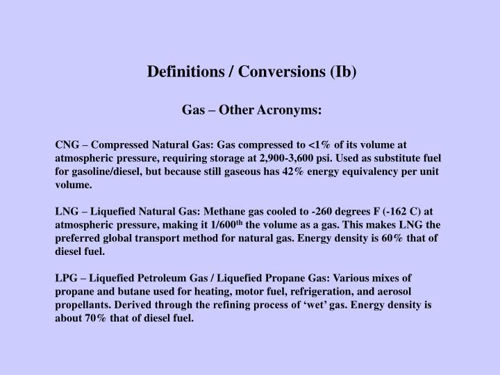 Definitions / Conversions (Ib)