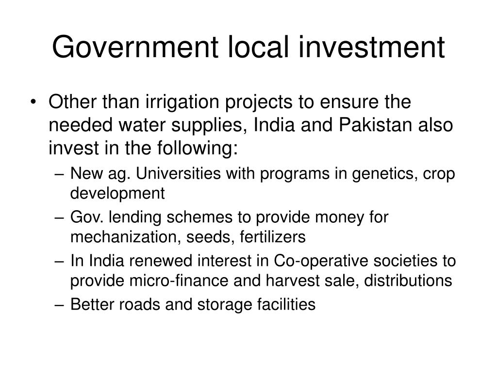 Government local investment