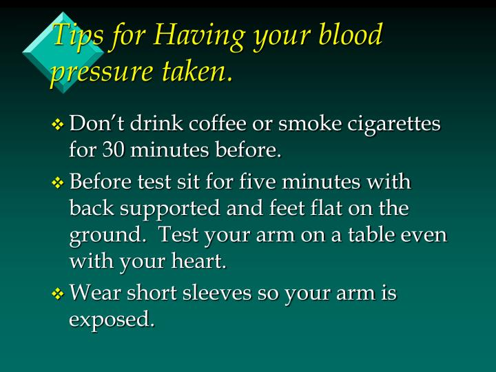 Tips for Having your blood pressure taken.