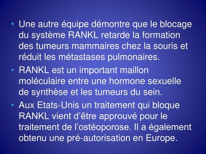Une autre équipe démontre que le blocage du système RANKL retarde la formation des tumeurs mammaires chez la souris et réduit les métastases pulmonaires.