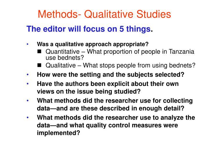 Methods- Qualitative Studies