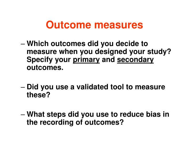Outcome measures
