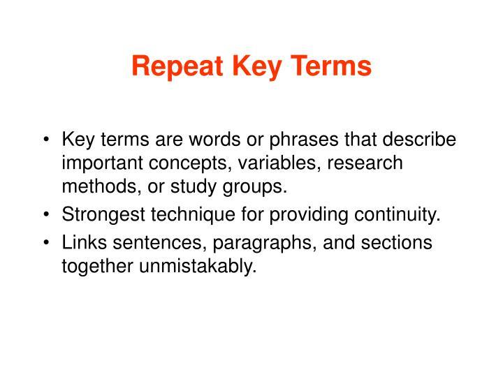 Repeat Key Terms
