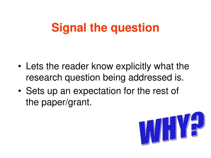 Signal the question