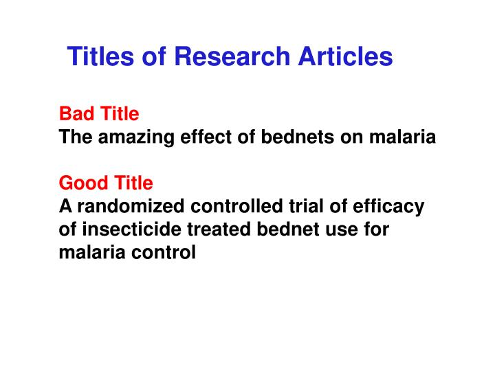 Titles of Research Articles