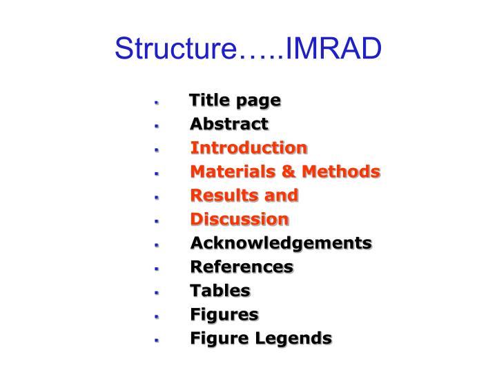 Structure…..IMRAD