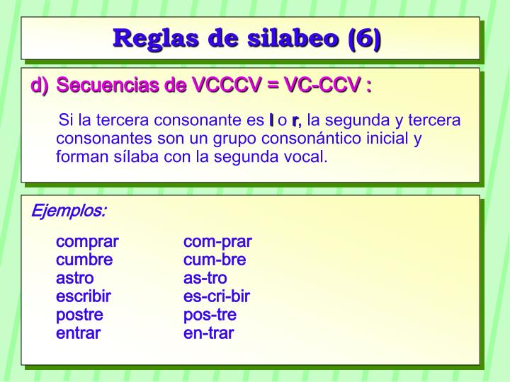 Reglas de silabeo (6)