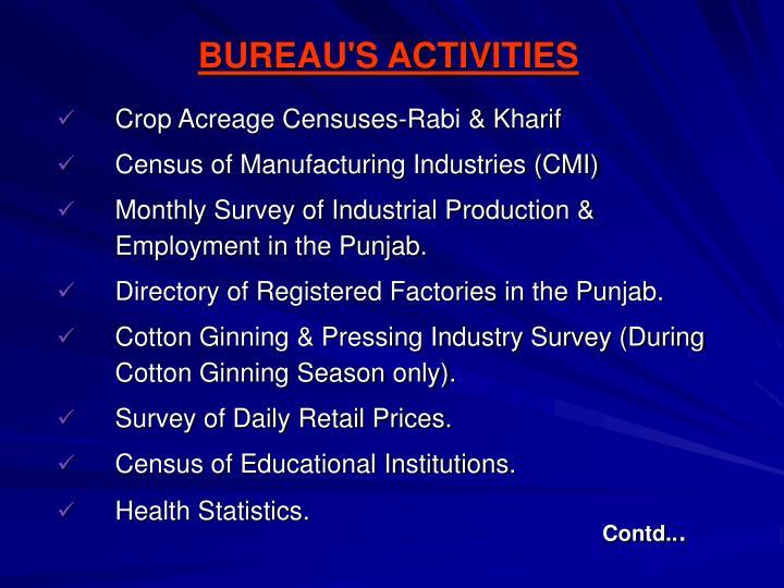 BUREAU'S ACTIVITIES