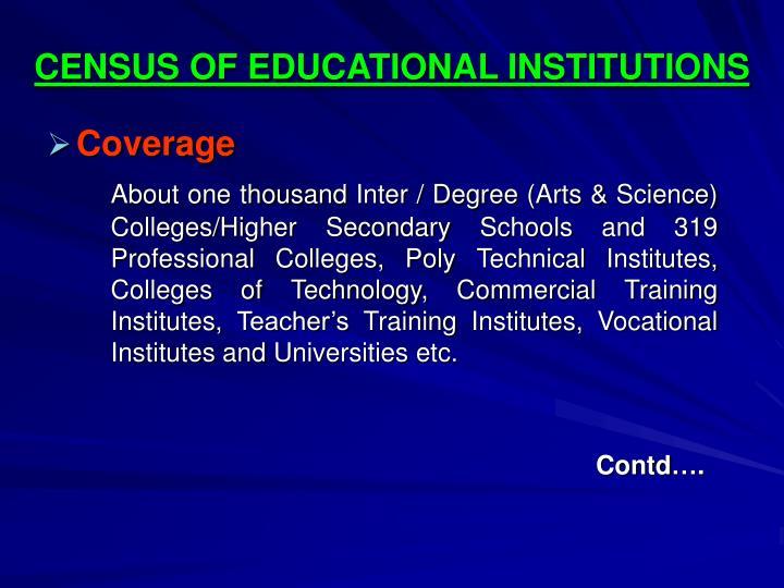 CENSUS OF EDUCATIONAL INSTITUTIONS