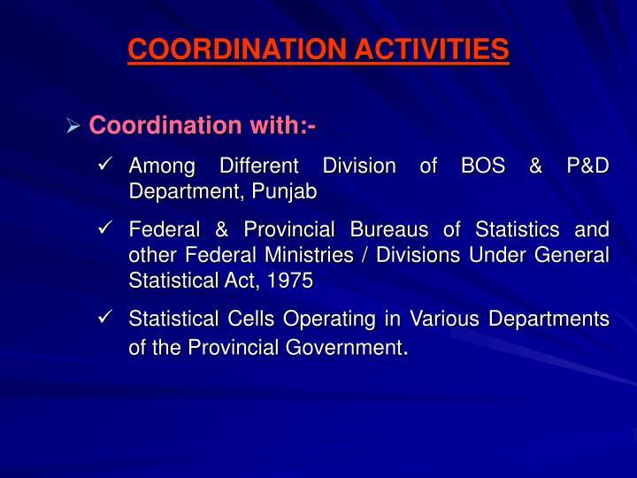 COORDINATION ACTIVITIES