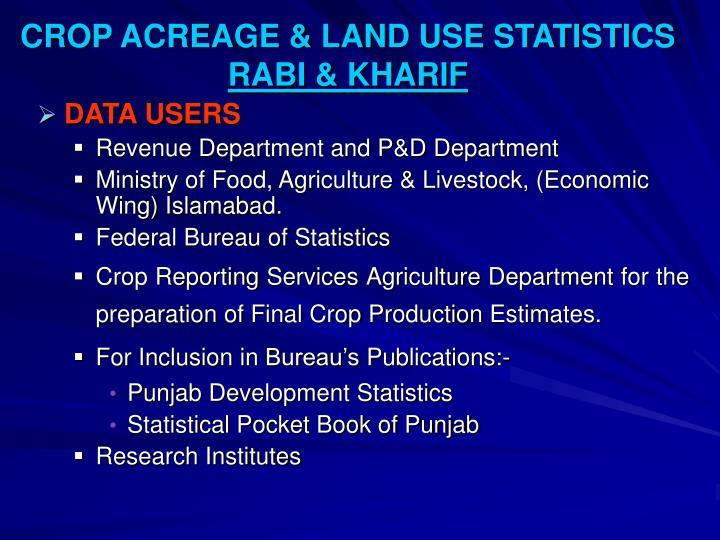 CROP ACREAGE & LAND USE STATISTICS