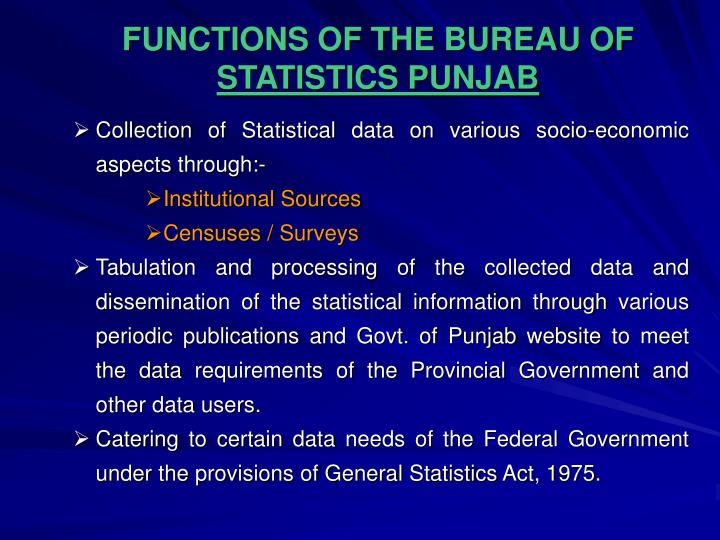 FUNCTIONS OF THE BUREAU OF