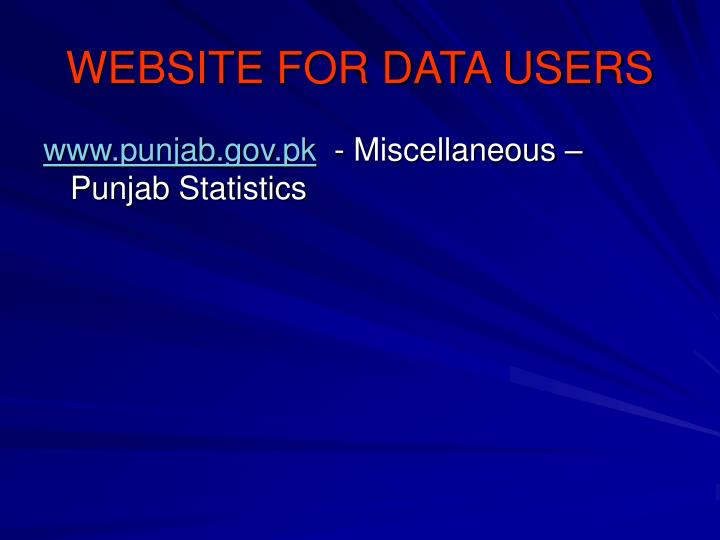 WEBSITE FOR DATA USERS