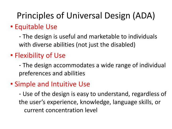 Principles of Universal Design (ADA)